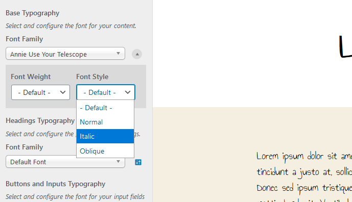 customize font style in fonts plugin