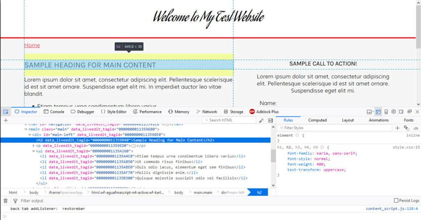developer tools in browser