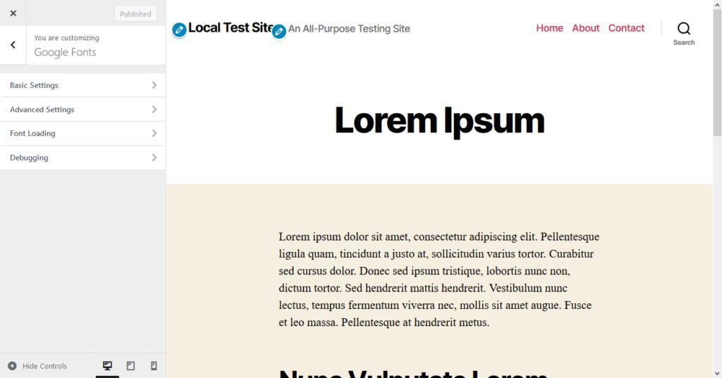 fonts plugin configuration options in wordpress customizer