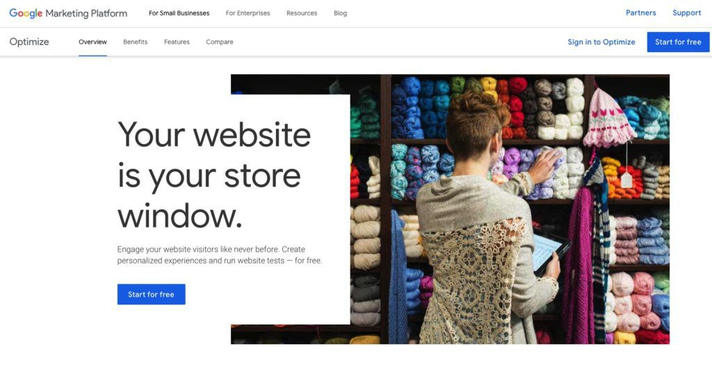 Use Google Optimize when you redesign existing website