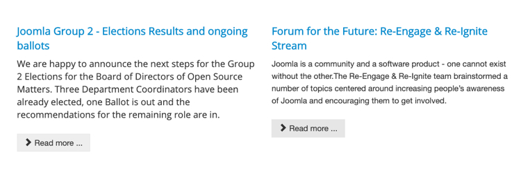 "Joomla website, showing two different stories, each with identical ""Read more"" buttons"