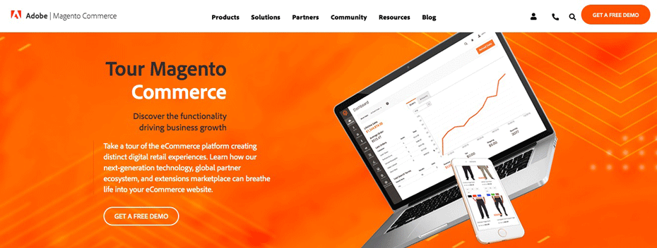 The Magento e-commerce platform homepage.