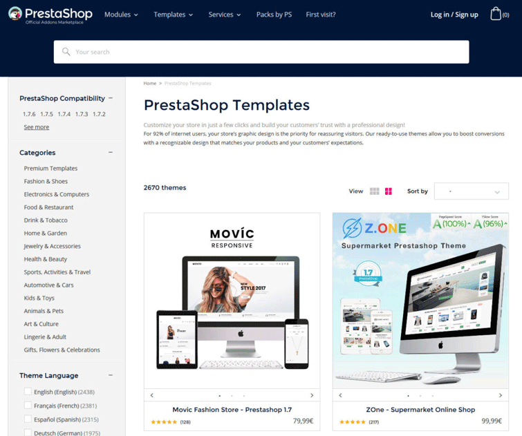 prestashop template shop