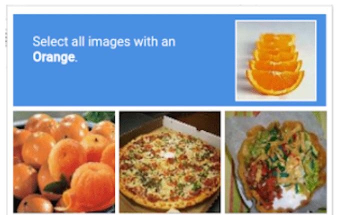 Partial screenshot of a captcha demanding the user click all squares that show oranges