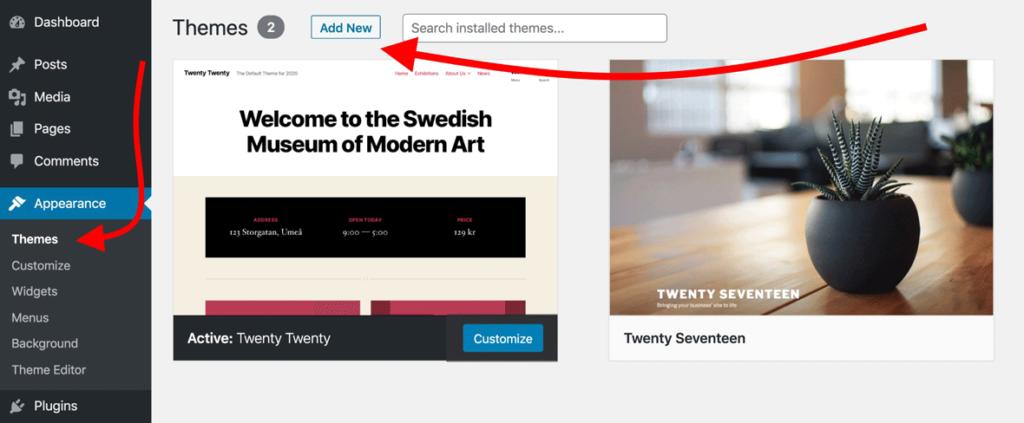 Cómo crear un sitio web: agregar temas