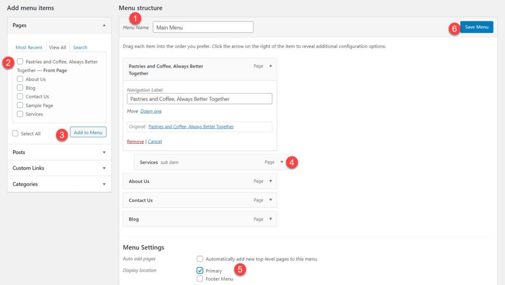 Proceso de creación del menú de WordPress