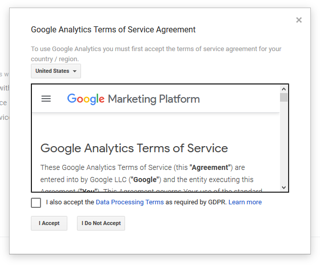 accept google analytics terms of service