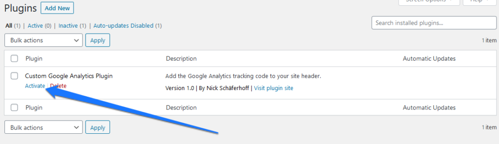 add google analytics to wordpress with a custom plugin