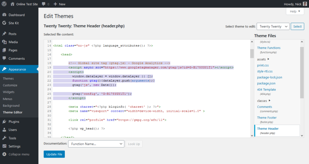 add google analytics tracking code to wordpress header file via the theme editor
