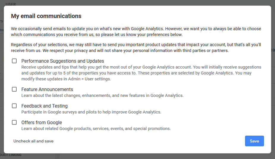 configure google analytics email communication