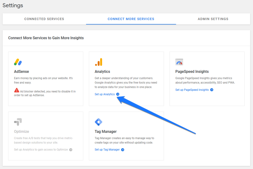 connect more services in google site kit settings