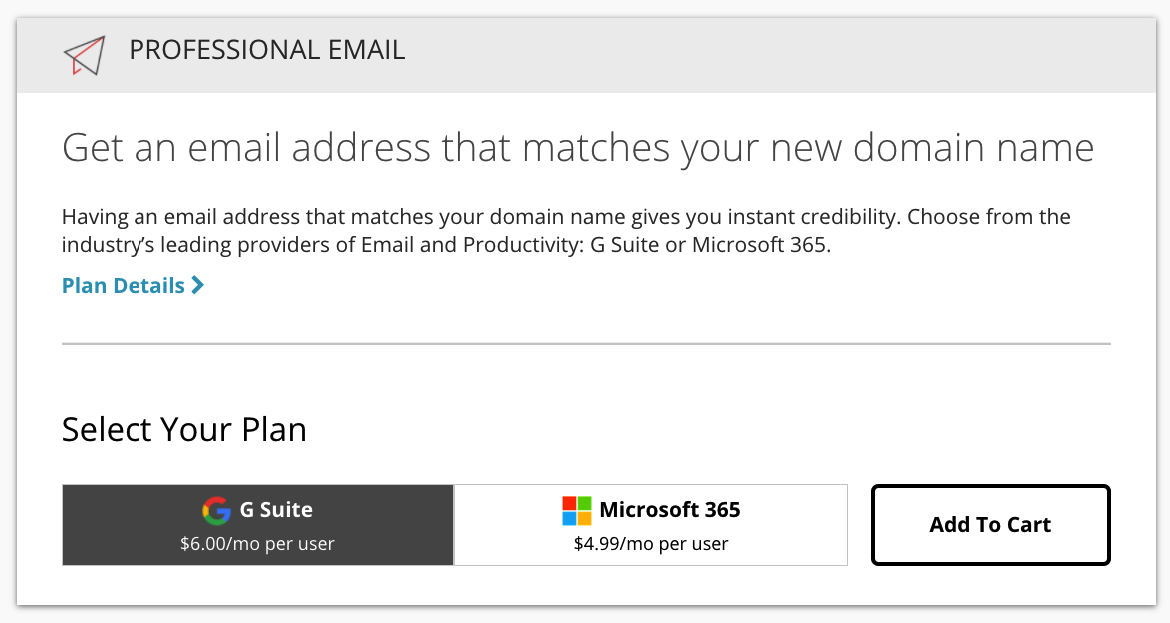 extra domain name cost: email hosting