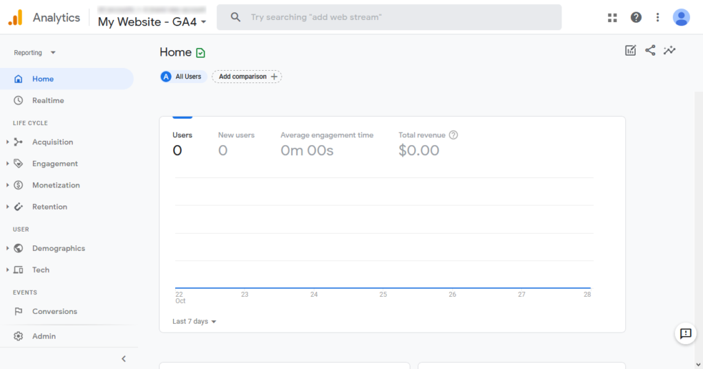 google analytics main screen
