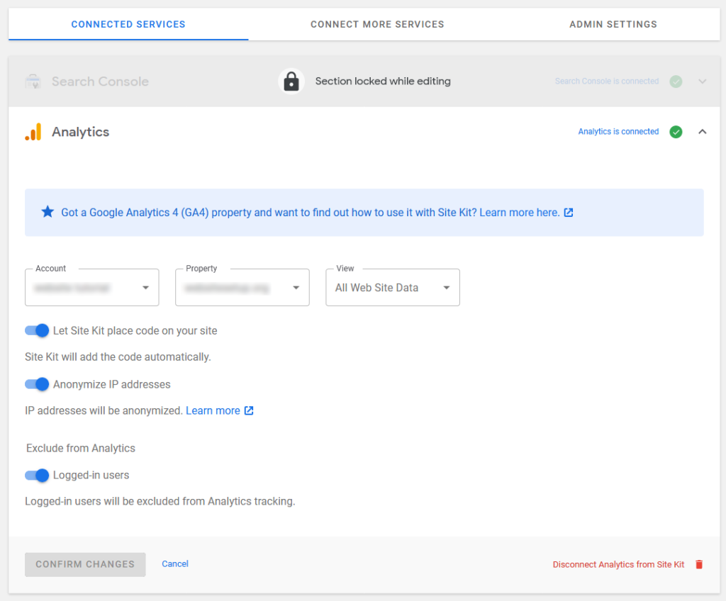 google analytics settings in site kit