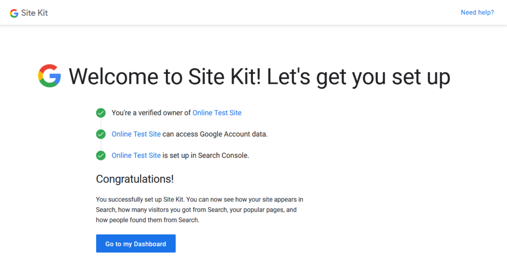 google site kit setup confirmation