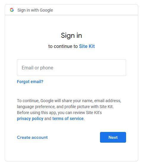 log into google for site kit setup