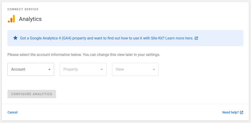 pick google analytics account property and view in site kit