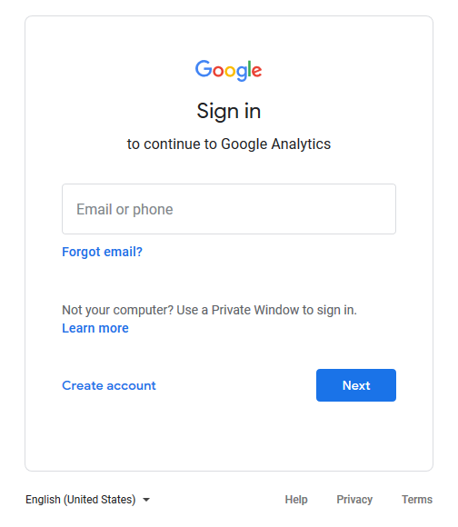 sign in to google to create a google analytics account