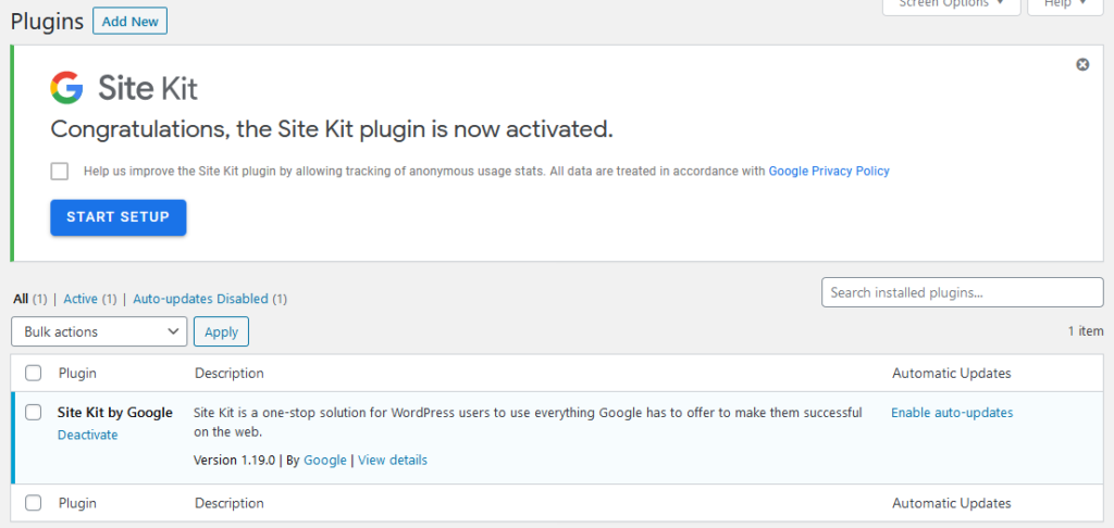 start google site kit setup