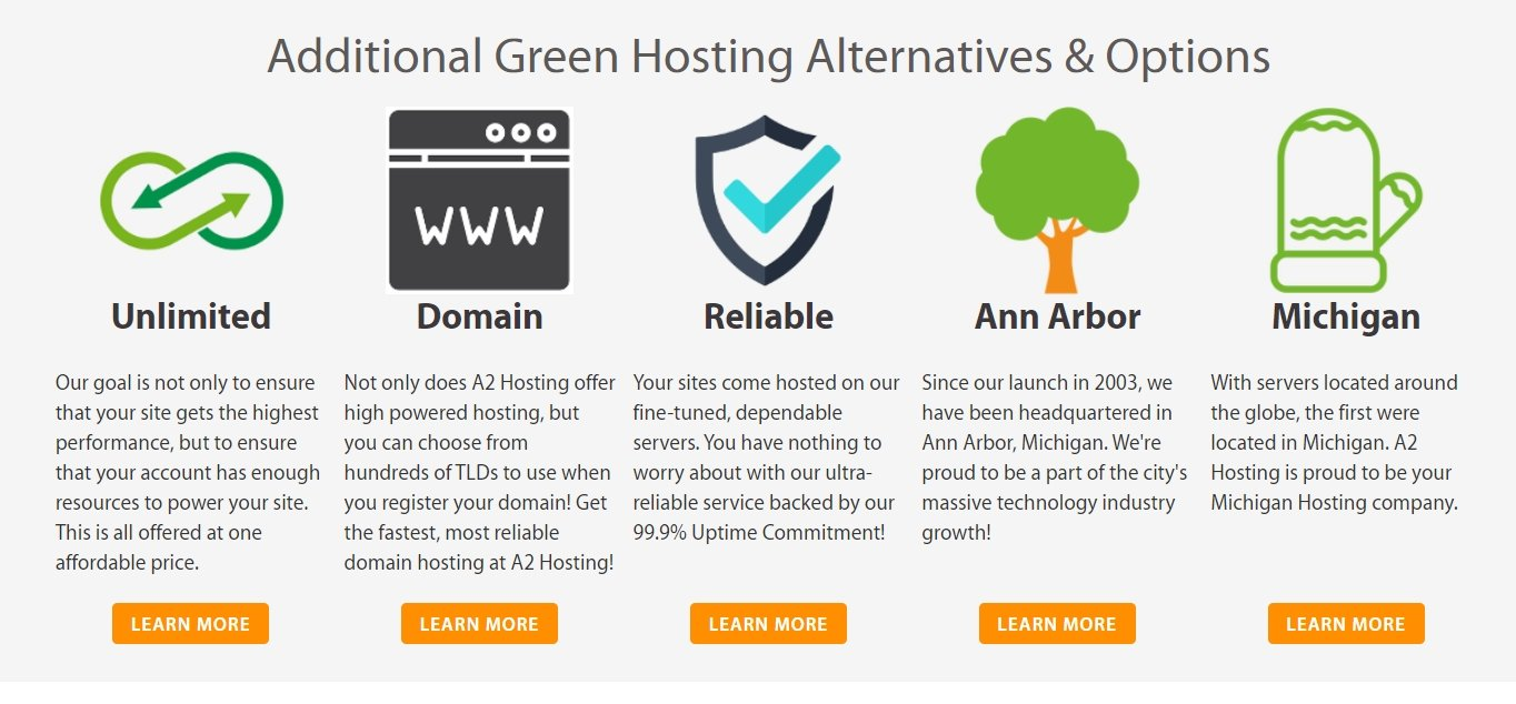 A2 Hosting Green Web Hosting display
