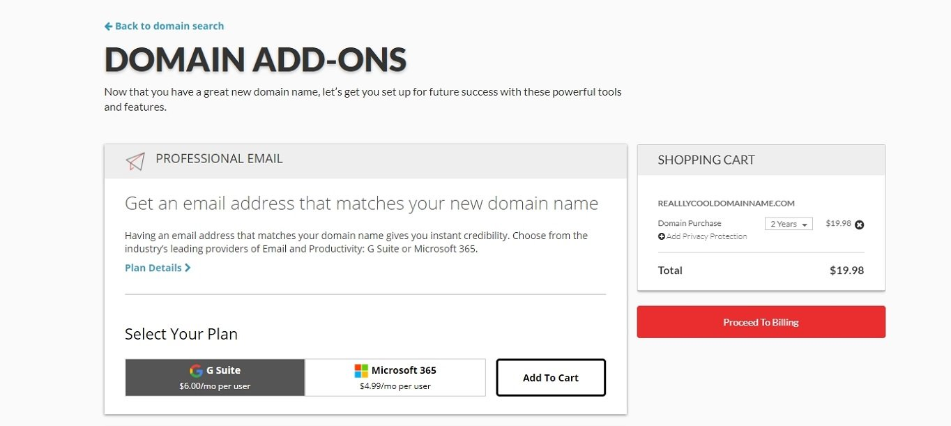 Domain.com add-ons selection