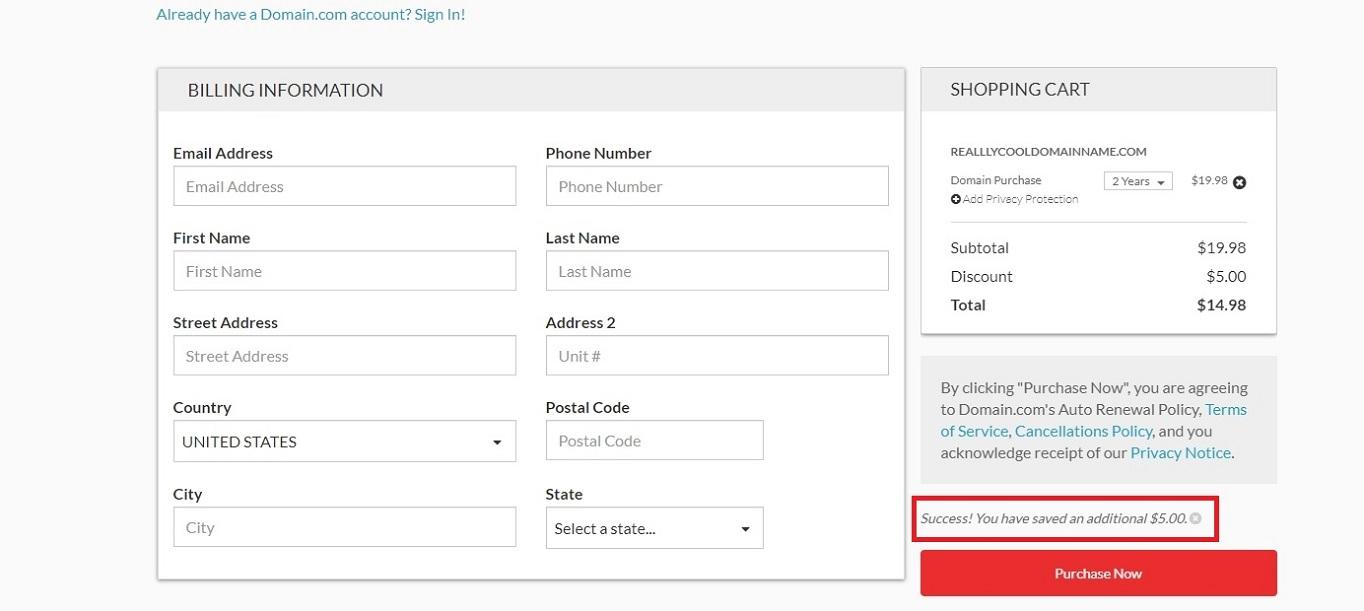 Domain.com coupon code discount