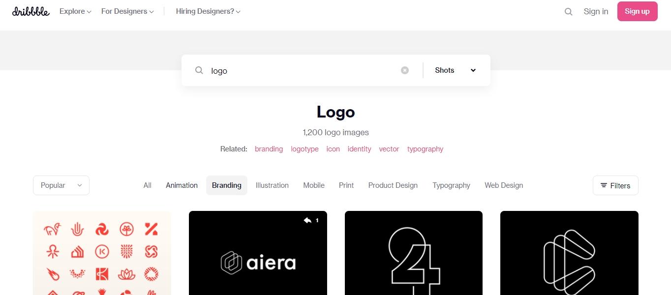 Dribbble logo search