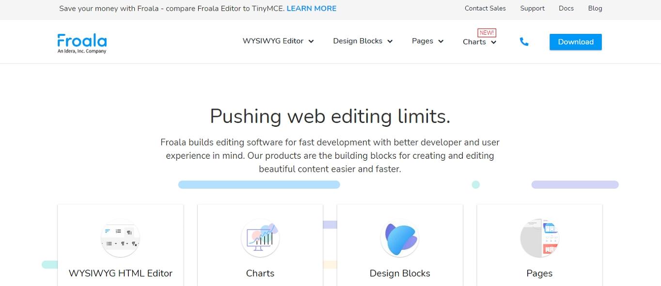 The website for Froala, an HTML WYSIWYG editor.