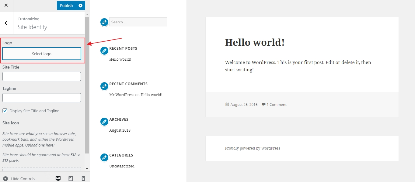 How add a logo to your WordPress site