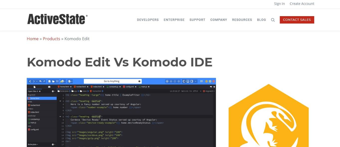 The Komodo Edit text editor for HTML website.
