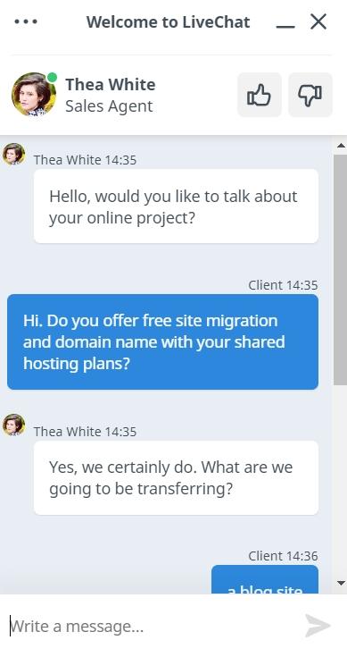 TMDHosting live chat