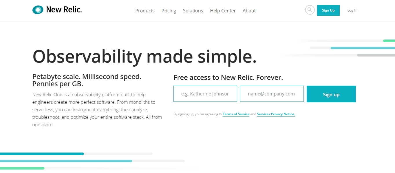 New Relic website monitoring tool
