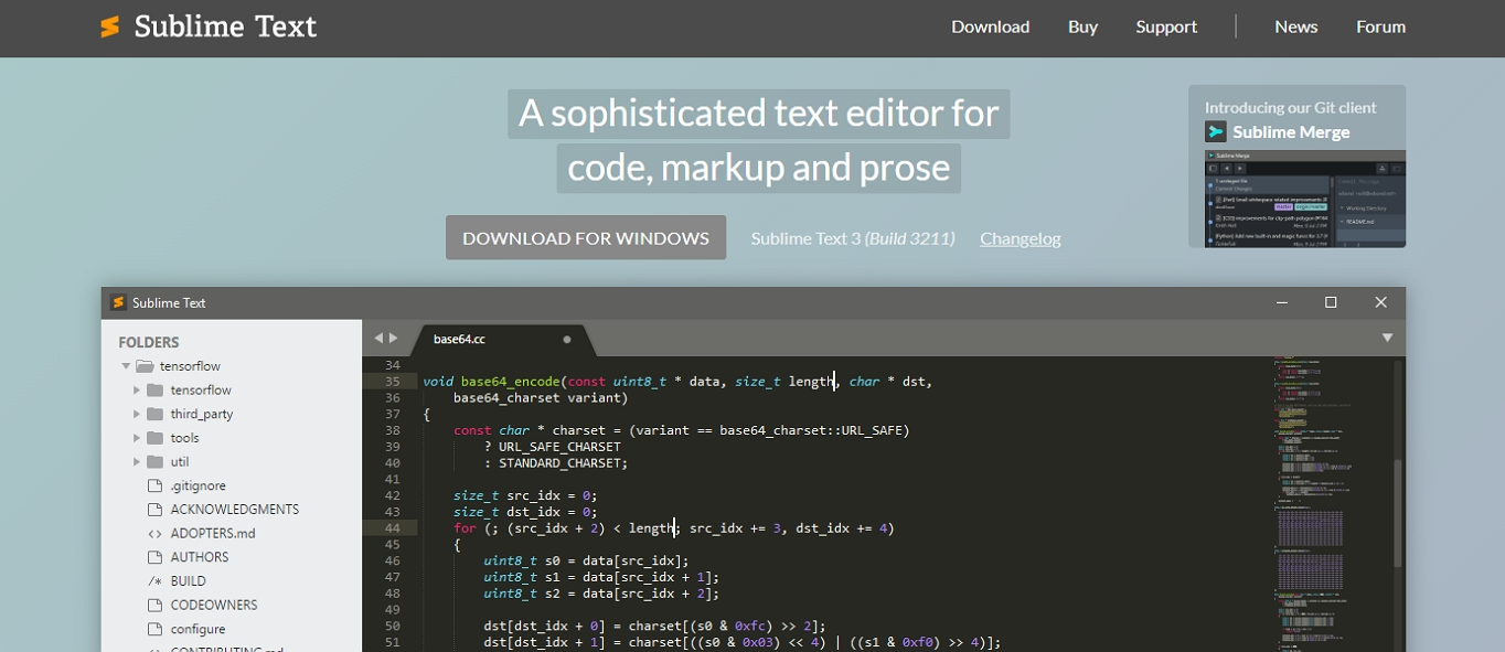 The website for the Sublime Text 3, HTML text editor.