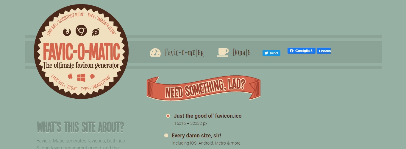 The Favicomatic website, a free favicon generator.