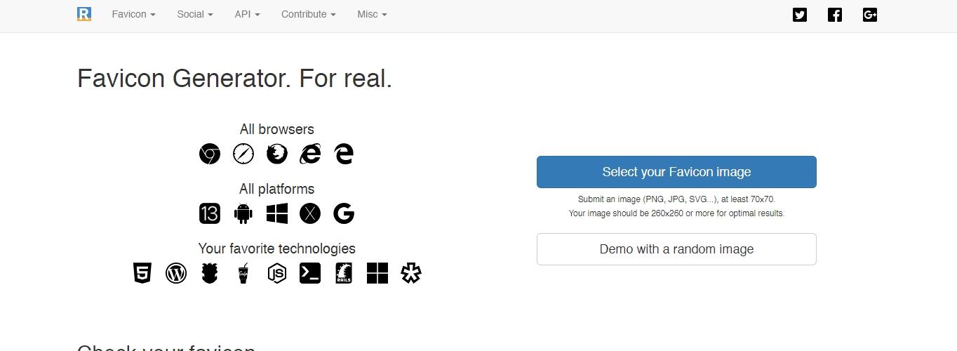 The Real Favicon Generator website to create favicon icons.