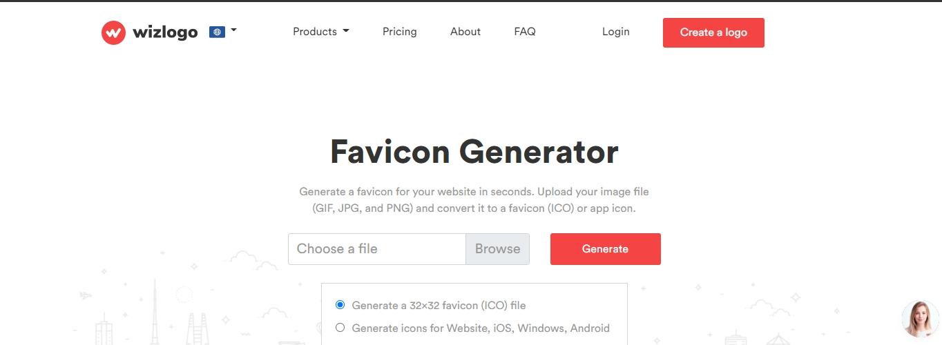 The Wizlogo free favicon generator to create favicon icons.