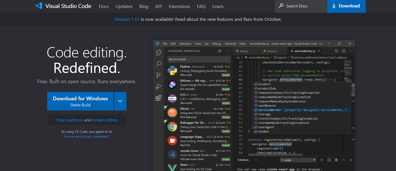 The website for the Visual Studio Code HTML text editor.