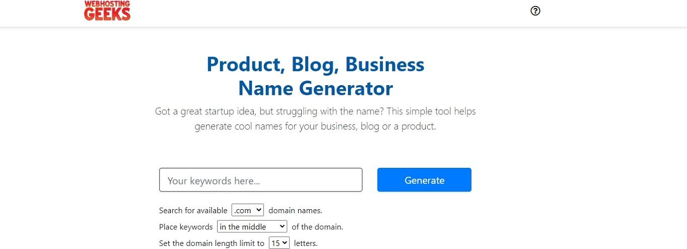 WebHostingGeeks domain name generator