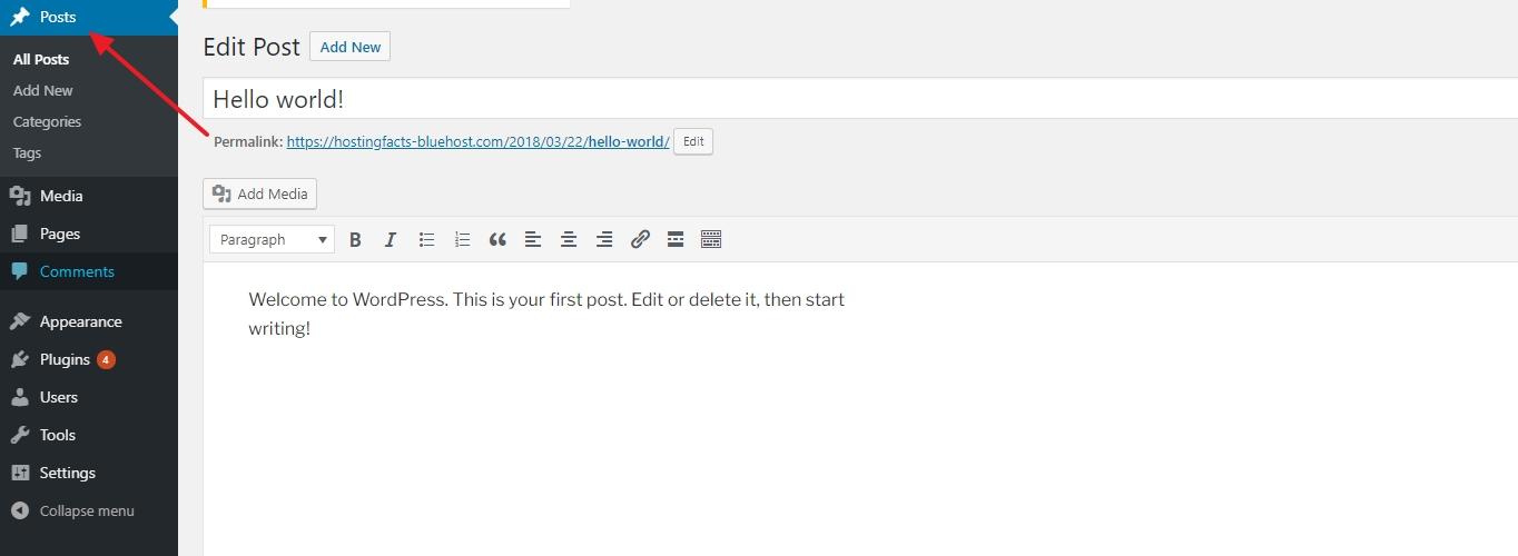 WordPress how to add a posts