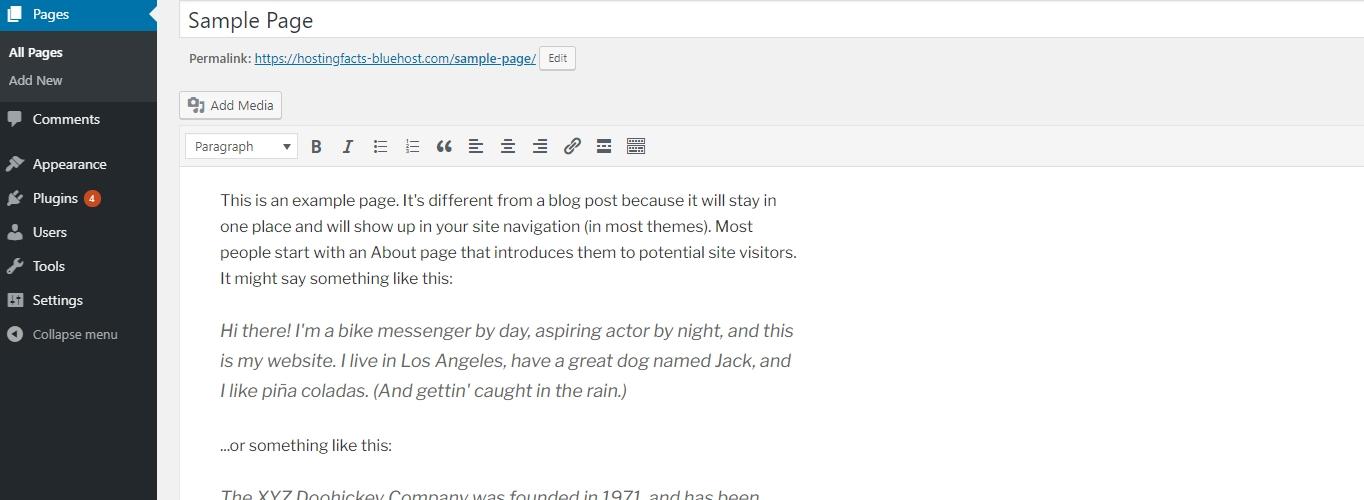 WordPress sample page