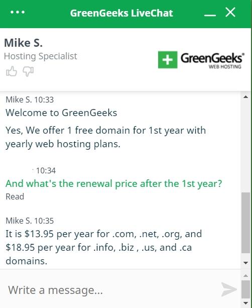 GreenGeeks live chat