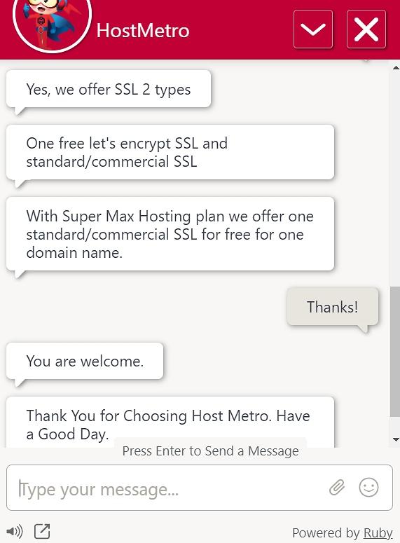 HostMetro support live chat