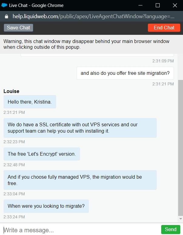 Liquid Web live chat