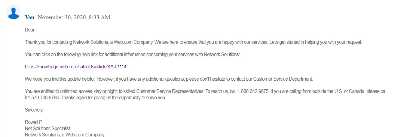 Network Solutions ticekt response