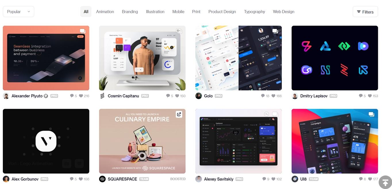 dribbble for website design ideas inspiration