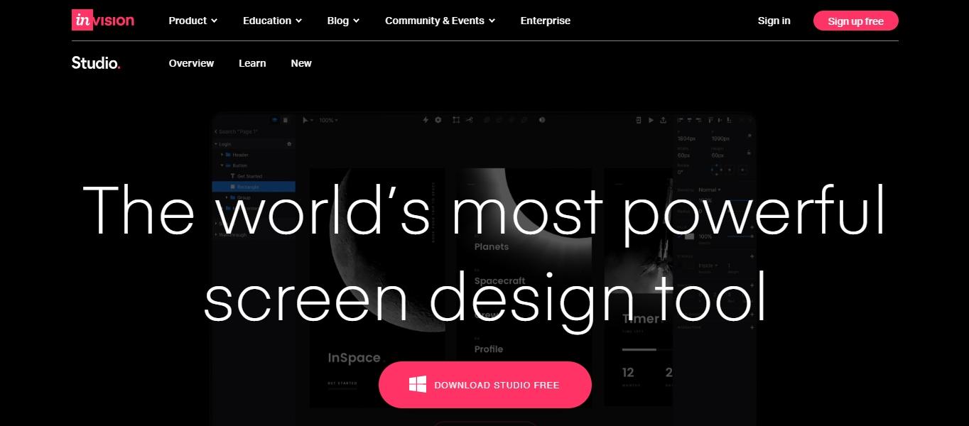 InVision Studio interface design software