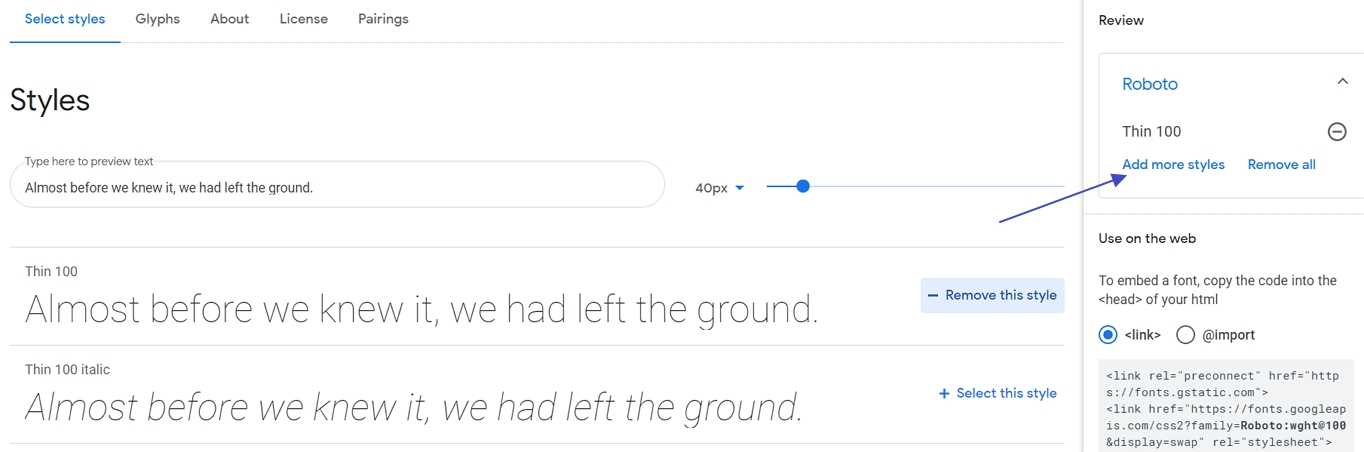 select font family or style in google fonts