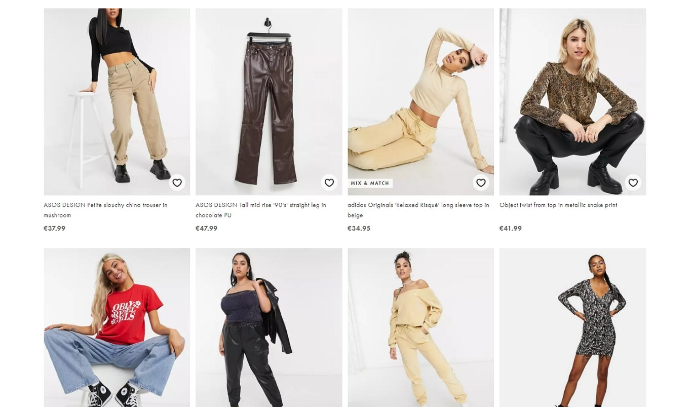 Ecommerce sites like Asos favour card-based layouts to display product listings.