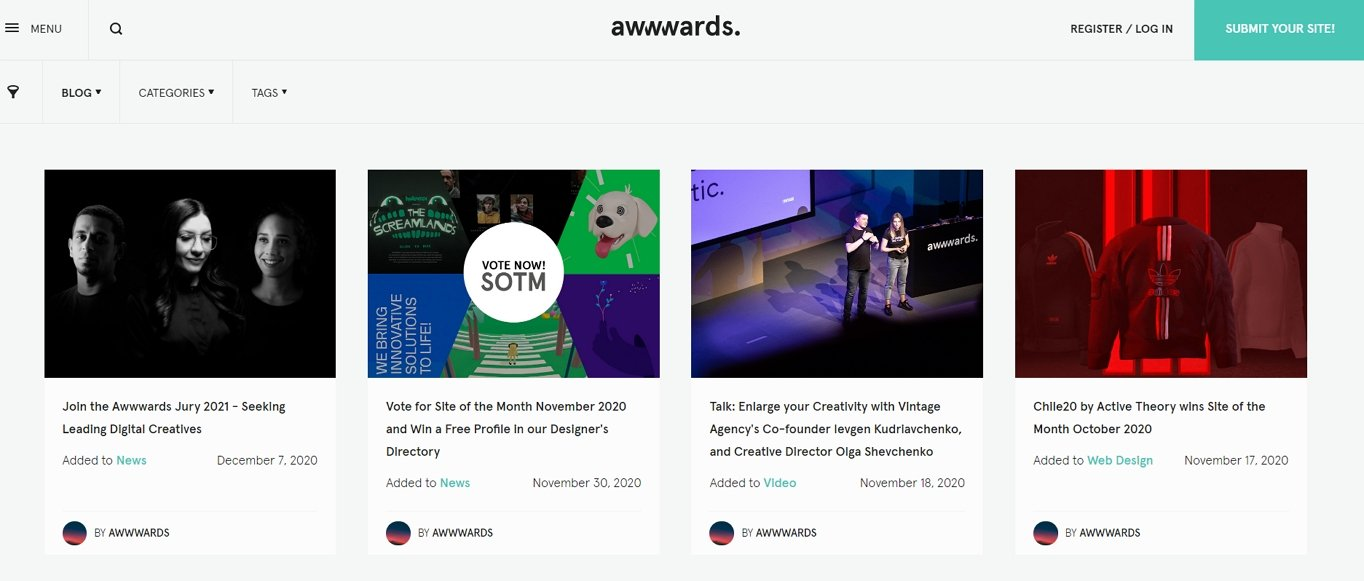 Awwwards use a card-based layout to list the posts on its blog.