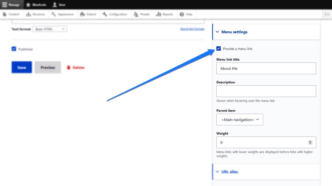basic page menu settings